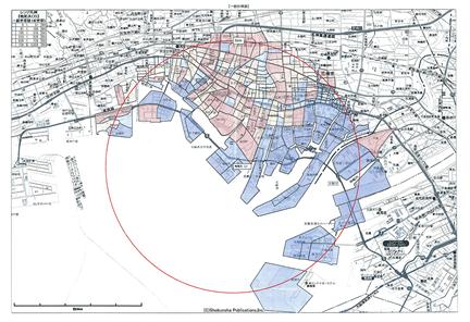 指定エリアの半径5Km以内の人口総数を表示したもの