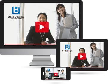 パソコン、タブレット、スマートフォンで、採用動画の映像で会社をアピールするイメージ