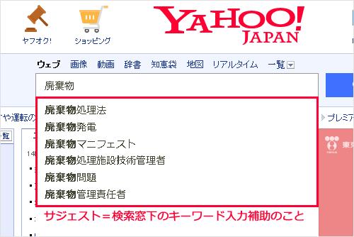 キーワード入力補助 YAHOO!JAPANでの表示イメージ