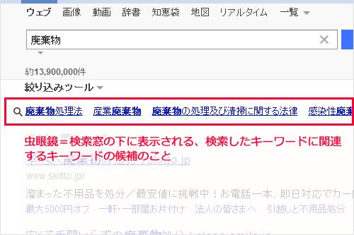 サジェスト&虫眼鏡対策 YAHOO!JAPANでの表示イメージ