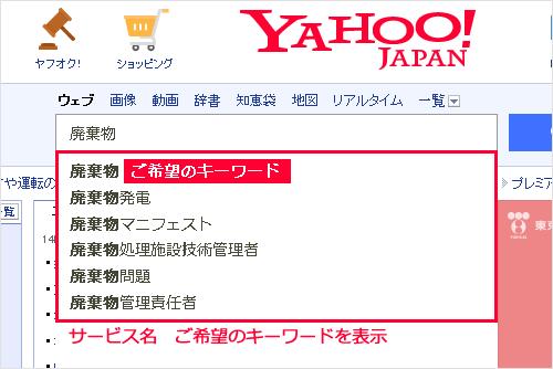 虫眼鏡キーワード YAHOO!JAPANでの表示イメージ