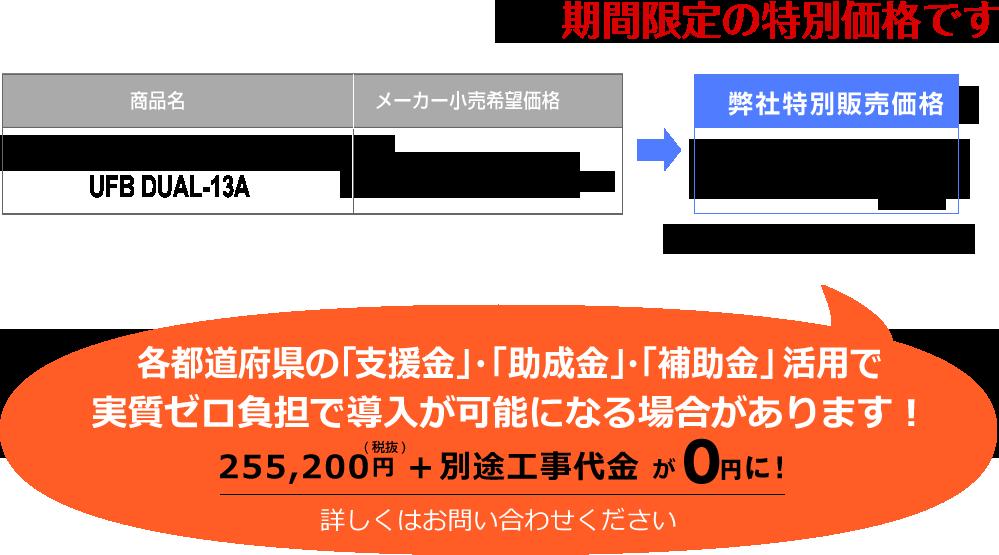 商品名:ウルトラファインバブルDUAL UFB DUAL-13A。メーカー小売希望価格:319,000円(税抜き)から、弊社特別販売の期間限定特別価格255,200円(税抜)※別途工事代金が必要です。 各都道府県の「支援金」・「助成金」・「補助金」活用で実質ゼロ負担で導入が可能になる場合があります! 255,200円+別途工事代金が0円に! 詳しくはお問い合わせください。
